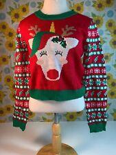 Derek Heart Girls Reindeer Ugly Christmas Sweater Size Medium