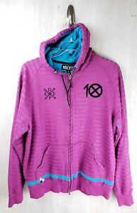 10 DEEP Striped Zip Hoodie Sweatshirt Magenta  Size XX Ten Hoody 10deep