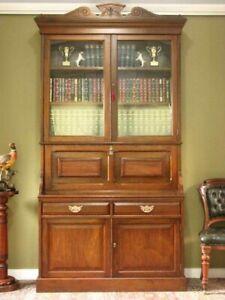 ANTIQUE WALNUT 2 HEIGHT SECRETAIRE BOOKCASE ~ WRITING DESK, STORAGE CABINET 1890