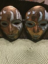 Set Of 2 Vintage Brass Masks Tribal Hand Painted on Solid Brass Mardi Gras Wall