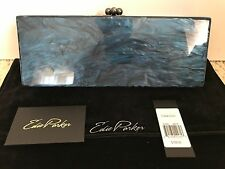 NWT Auth Edie Parker Flavia Navy Blue Marbled Acrylic Clutch Bag Handbag $1095
