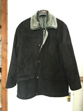 Lakeland Mens Black Faux Sheepskin Suede Coat Jacket 44 XXL