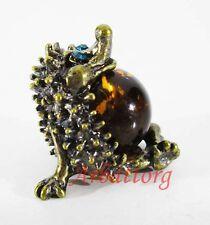 Bronze Brass Figurine Statuette Russian Hedgehog Baltic Amber IronWork #242