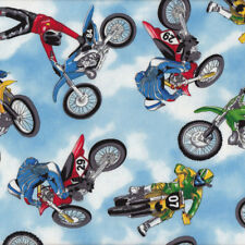 Dirt Bikes Riders Motocross Extreme Sport Motorbikes Boys Quilting Fabric FQ or