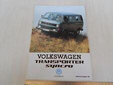 BROCHURE DEPLIANT ORIGINALE Volkswagen Transporter syncro 4x4 1985 prospekt
