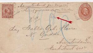 Dutch East Indies Registered postal stationery envelope Weltevreden Java 1895