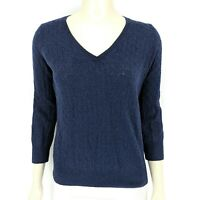 Banana Republic Wool Blend Long Sleeve Blue Cable Knit Sweater Women's Medium