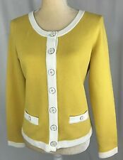 Banana Republic Women Jacket Medium Blazer Cardigan Knit Cotton Yellow New