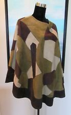 Vtg 70's Green Patchwork Suede Leather Taos Hippie/Boho Poncho Vest