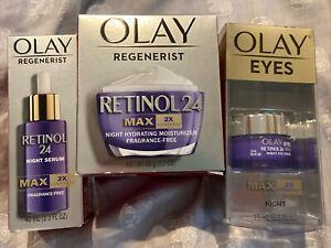 * Olay Regenerist RETINOL MAX 2 24 Night Moisturizer Night Serum & Eyes Bundle