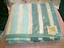 BATH TOWEL... NEW IN PACKET....AQUA AND WHITE STRIPED