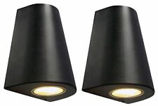 2 x Cone Shape Outdoor Wall Light Black Finish Exterior Single Downlight