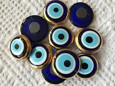 10 Pieces Magnet, Turkish Glass Evil Eye w Gold Trim, Lot Charm,