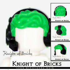 LEGO Minifigure Hair BRIGHT GREEN 35741pb02 Male Tousled Black Gamer Headset