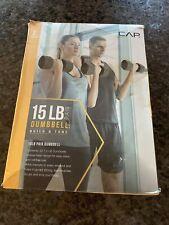 CAP Fitness Dumbbells 15 LB Set (Two 7.5 LB Weights) Black Weight Yoga 6.8 KG