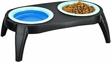 Collapsible Double Twin Bowl Raised Stand Pet Dog Cat Food Water Travel Bowls