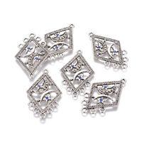 10pcs Tibetan Silver Alloy Rhombus Chandelier Component Links 6 Loop 46.5x28mm