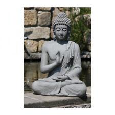 XXL Buddha Skulptur Gartendeko Gerechtigkeit sitzend steingrau H.73 cm Feng Shui