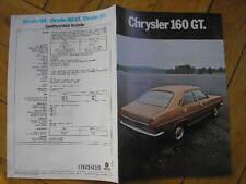CHRYSLER 160 GT BROCHURE ORIGINALE SIMCA ITALIA