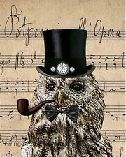 Steampunk Owl Art Print 8 x 10 - Victorian Altered Art Collage - on Sheet Music