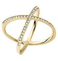 MICHAEL KORS MKJ4171 Brilliance Gold Pave Crystal Crisscross X Ring MKJ4171710
