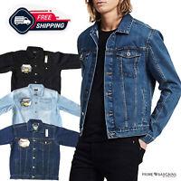 Men Stylish Denim Jeans Jacket Durable Outwear Cowboy Bikers Button Closure Coat