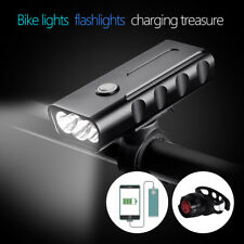 2400LM Double Head Light LED Rechargeable Bicycle Bike USB Lamp Rotating Mount