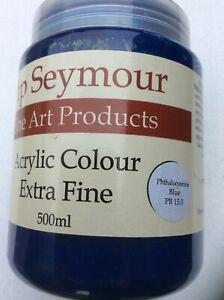 Pip Seymour Phthalocyanine Blue Acrylic Colour 500ML. New Unused
