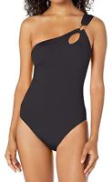 Trina Turk Womens Swimwear Black Size 4 One-Piece One Shoulder Cutout $132- 341