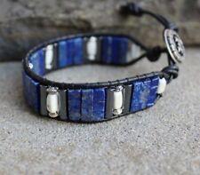 Men's Lapis and white Turquoise Beaded Black Leather Cuff Bracelet handmade NEW