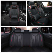 Car 5-Seats Covers Set Luxury PU Leather Black Cushions w/ Pillows Anti-static