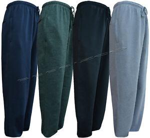 Mens/ Ladies Jogging Bottom Fleece Joggers Open Hem With Zip Pockets Small - 5XL