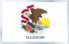ILLINOIS USA FLAG FRIDGE MAGNET SOUVENIR IMAN NEVERA