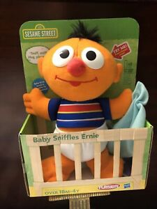 "Hasbro Playskool Sesame Street Baby Sniffles Ernie Plush 10"" Stuffed Toy New"