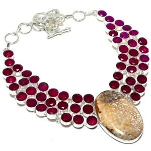 """Fossil Coral, Ruby Gemstone Handmade 925 Sterling Silver Necklace 17-18"""""""