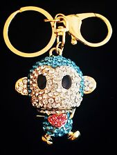 Keychain Austrian Crystal Charming Christmas Gift Cute MONKEY Blue Bling Bling
