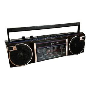 Vtg GE General Electric 3-5283A Stereo Cassette Recorder Radio Boombox Black