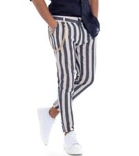 Pantalone Rigato Uomo Righe Bicolore Blu Tasca America Lino Casual GIOSAL
