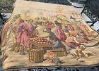 "Antique Tapestry 50""x50"" Middle Eastern Bazaar Scene Belgium"