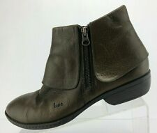 Born Foldover Ankle Boots Brown Leather Side Zipper Casual Shoes Womens Sz 10 M