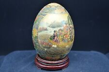 Vintage Large Gold Hand Painted Porcelain Egg-Geisha-Oriental-Chinese-Wood Stand