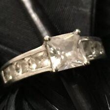 Cut Cz Wedding Engagement Ring 7.5 Estate Sterling Silver Channel Set Princess