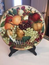 """ONE BLOCK *COUNTRY ORCHARD* ROUND CHOP PLATE PLATTER HARVEST NWT 12 1/2"""""""