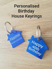 $3.80!! Personalised Birthday Gift, HOUSE Tag Keyring, FREE Laser Engrave & Post