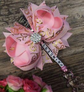 Personalised stunning pram charm in baby pink baby girls boys bear dummy