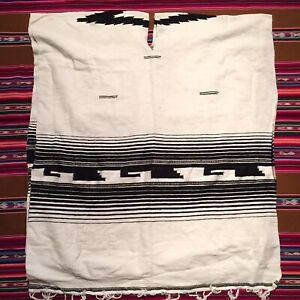 Vintage 90s Black And White Indian Blanket Poncho One Size 40x30