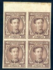 Sellos de España 1876 nº 177 SD Alfonso XII Bloque de Cuatro borde de hoja