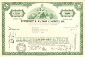 Restaurant & Waldorf > Massachusetts stock certificate
