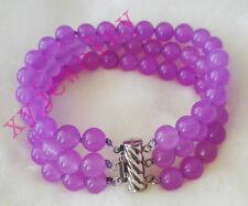 beautiful 3 row 8mm purple jade fashion flower bracelet 6.8 inch