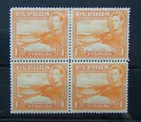 Cyprus 1938 - 51 1pi Orange block x 4 MM